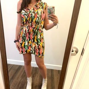 T-bags one shoulder multi color mini dress